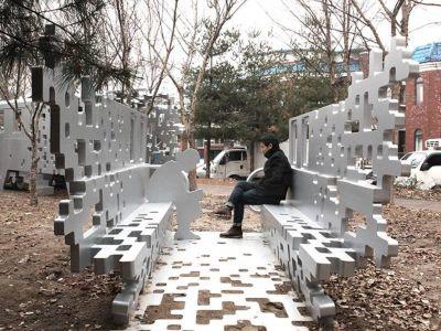 White public art bench