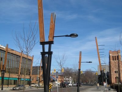 Artistic designed street lights add aesthetic to the streetscape