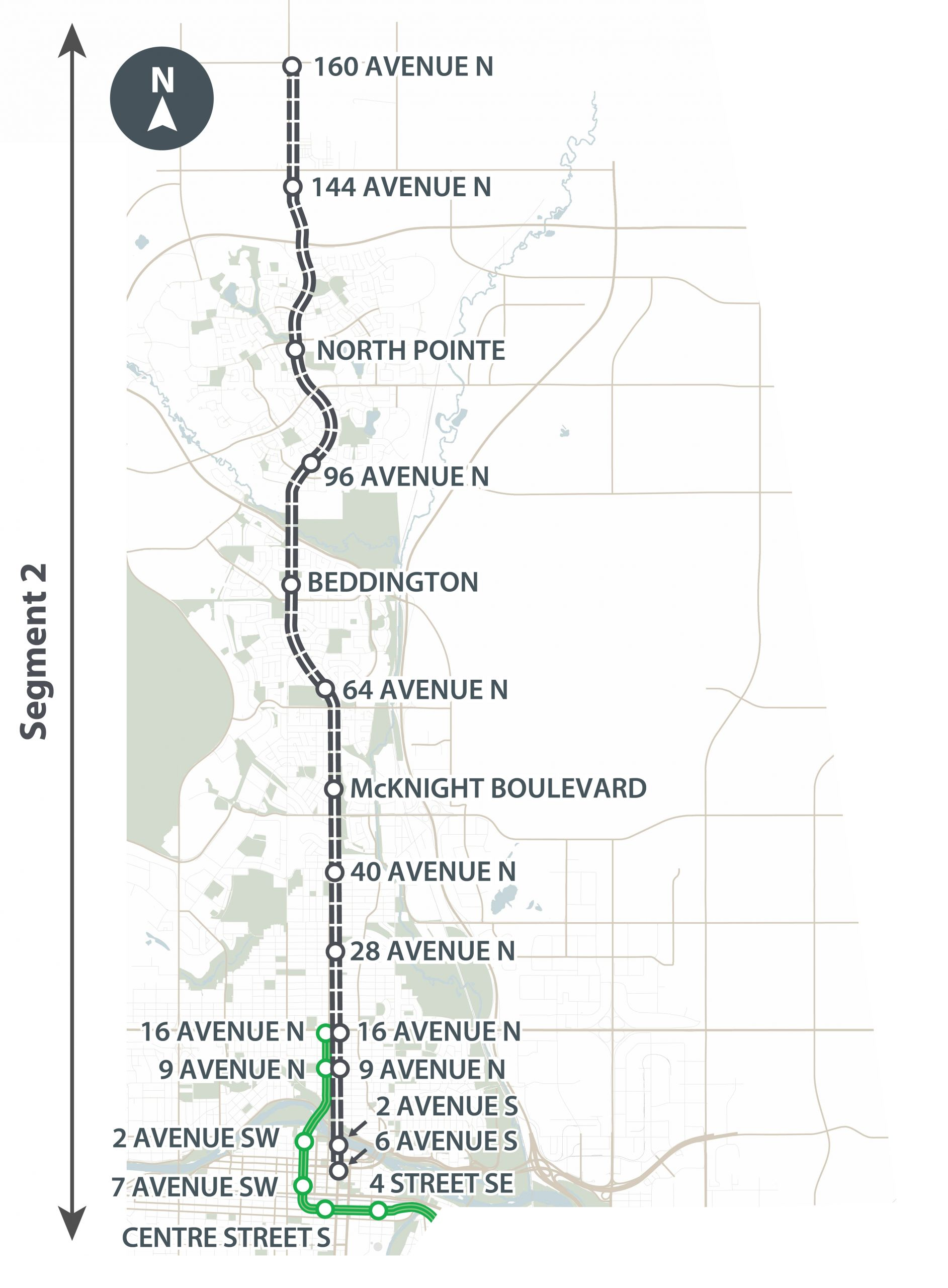 This map shows segment 2 of the Green Line which runs from 16 Ave N to the Elbow River.
