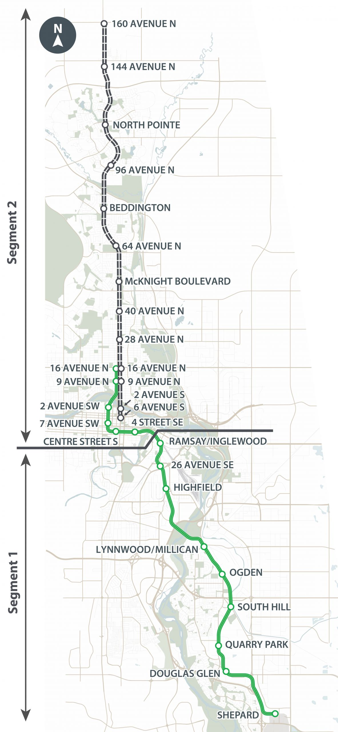 This map shows Stage 1 of the Green Line LRT running from Shepard in the south to 16 Ave in the north. It also includes BRT enhancements up to 160 Ave N.