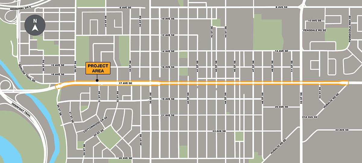 17 Ave SE BRT Map