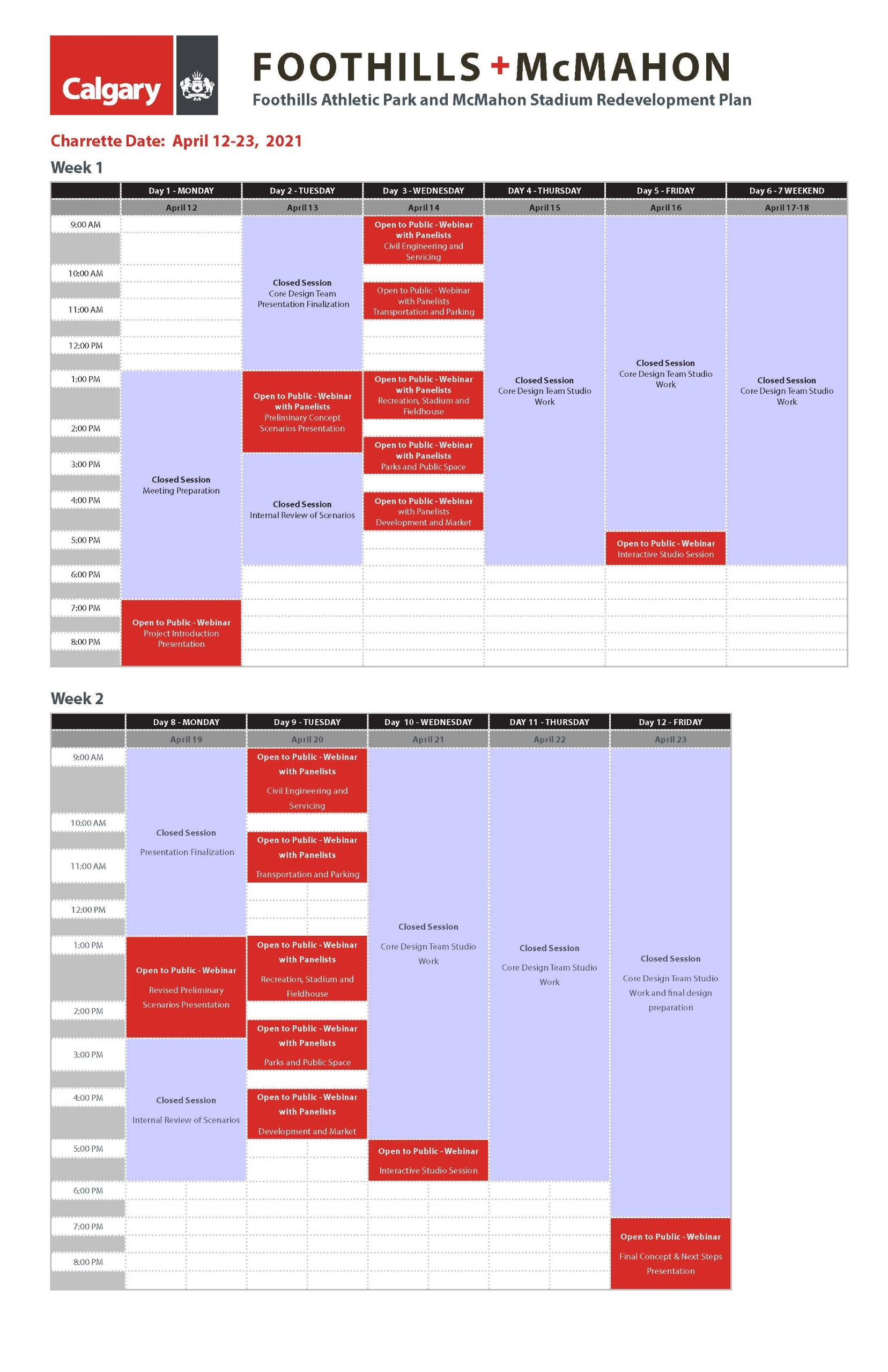 Charrette Schedule