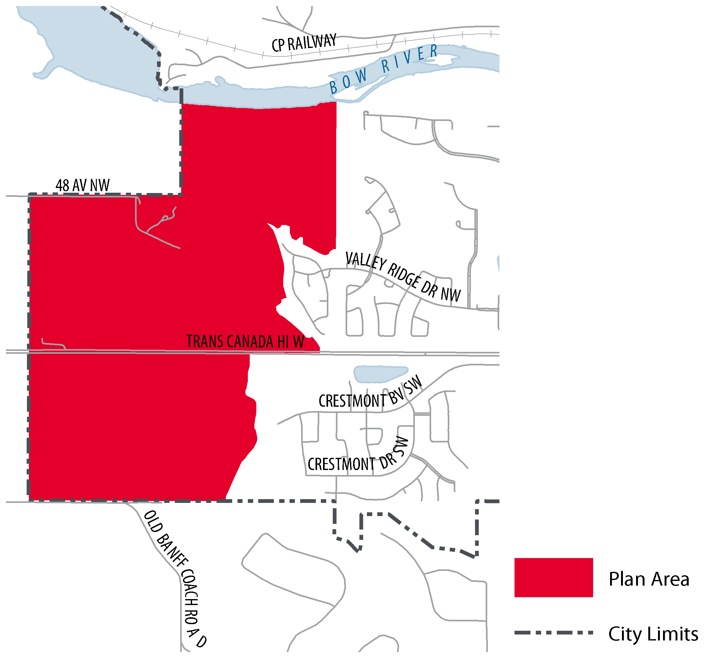 Map of the Area Structure Plan Area. The plan area is bounded by the Bow River to the north, the communities of Valley Ridge and Crestmont to the east, and by Rocky View County to the south and west.