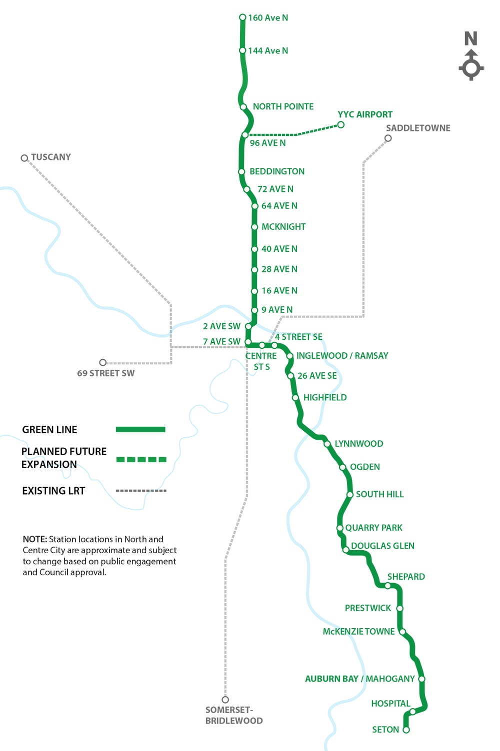 This image shows a map of the Green Line LRT route