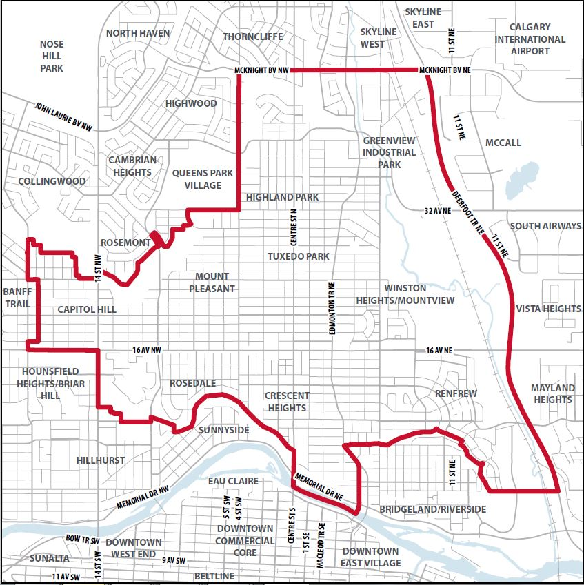Includes the communities of Highland Park, Mount Pleasant, Tuxedo Park, Winston Heights-Mountview, Crescent Heights, Renfrew, Rosedale, Capitol Hill and Thorncliffe Greenview (south of Mcknight Blvd).
