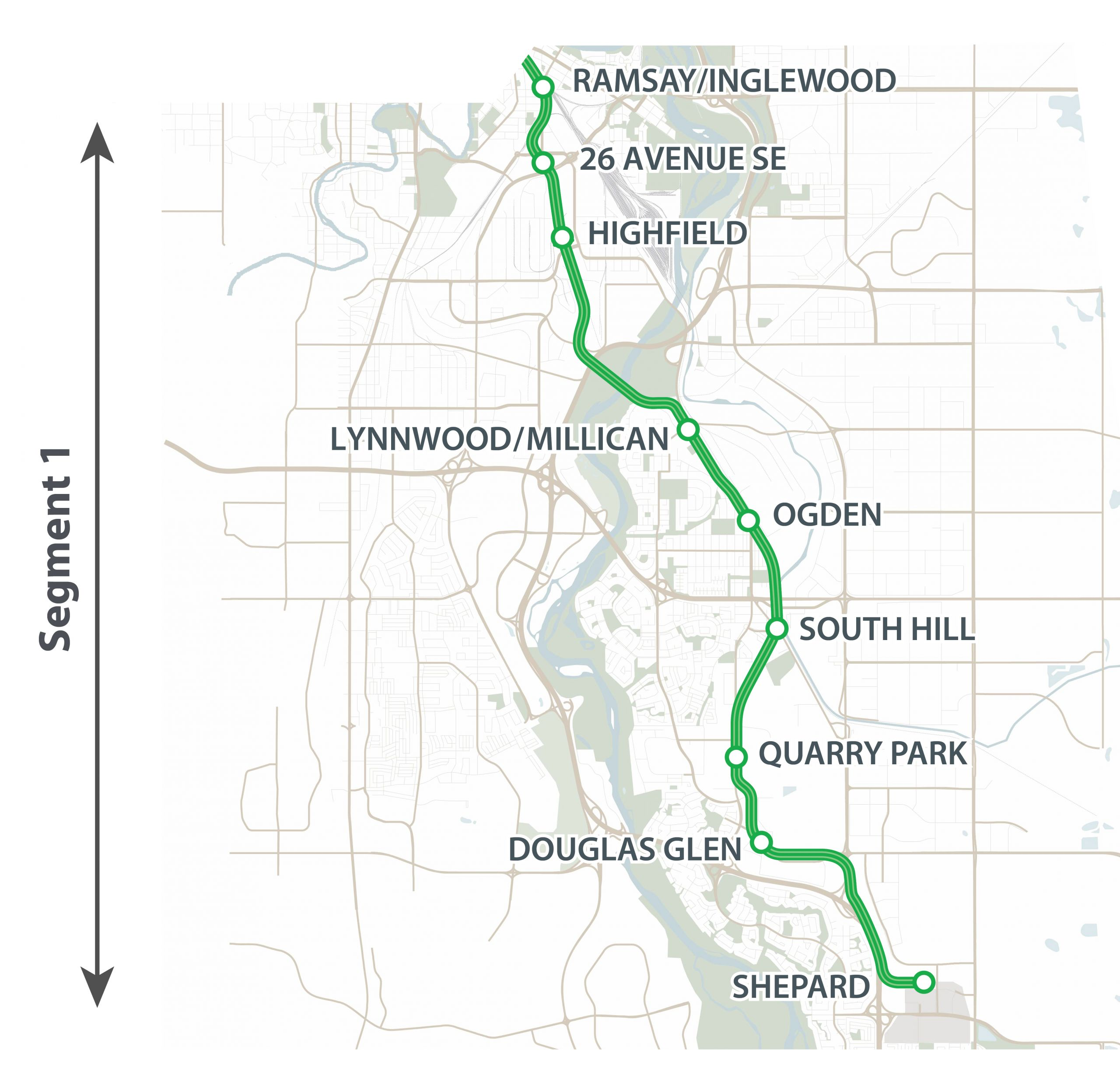 This map shows Segment 1 of the Green Line LRT. Segment 1 runs from the Elbow River to Shepard (126 Ave S.E.).