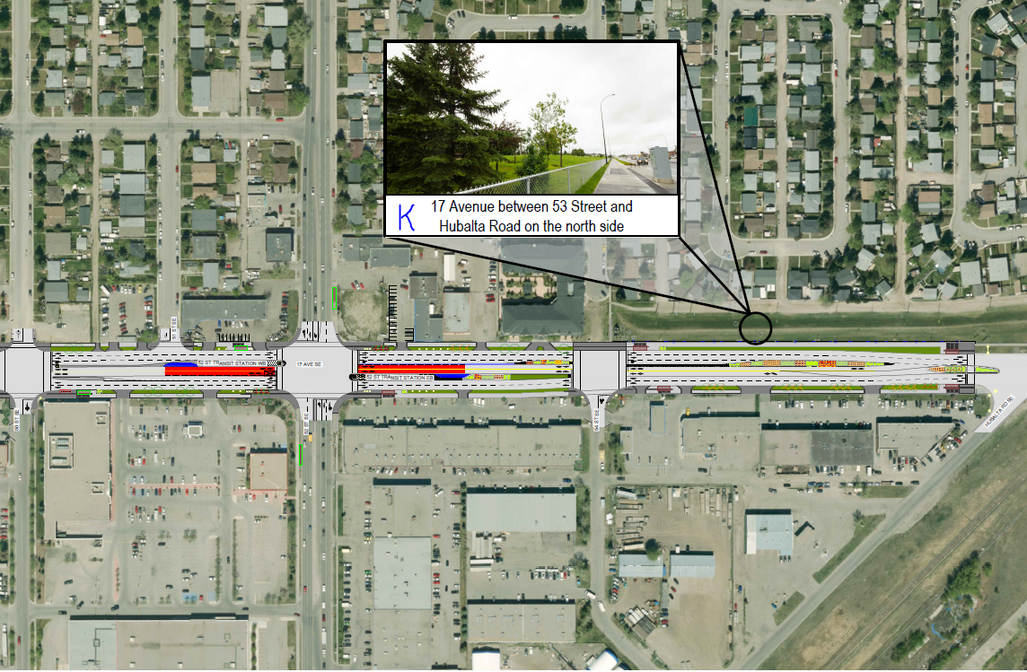 Map 4 shows 50 Street to where Hubalta Road intersects 17 Ave S.E. Location shown: K: north side of 17 Ave and Hubalta Road.