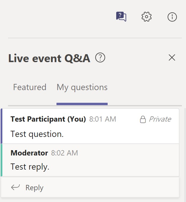 Image of chat window in Microsoft Teams, including a reply from the session moderator.
