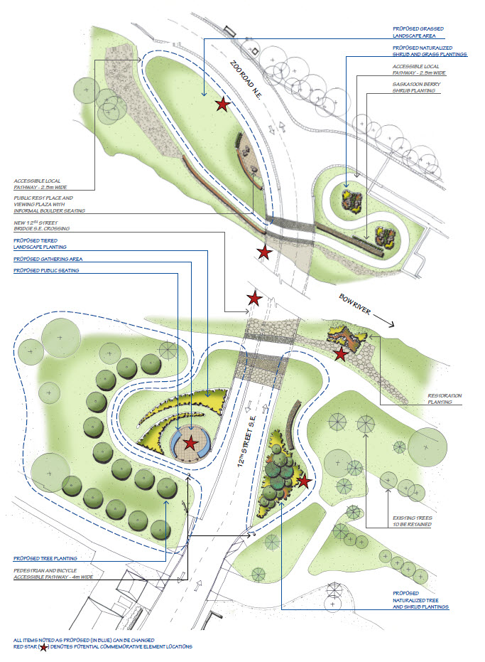 Draft park concept with potential landscaping idea and commemorative locations.