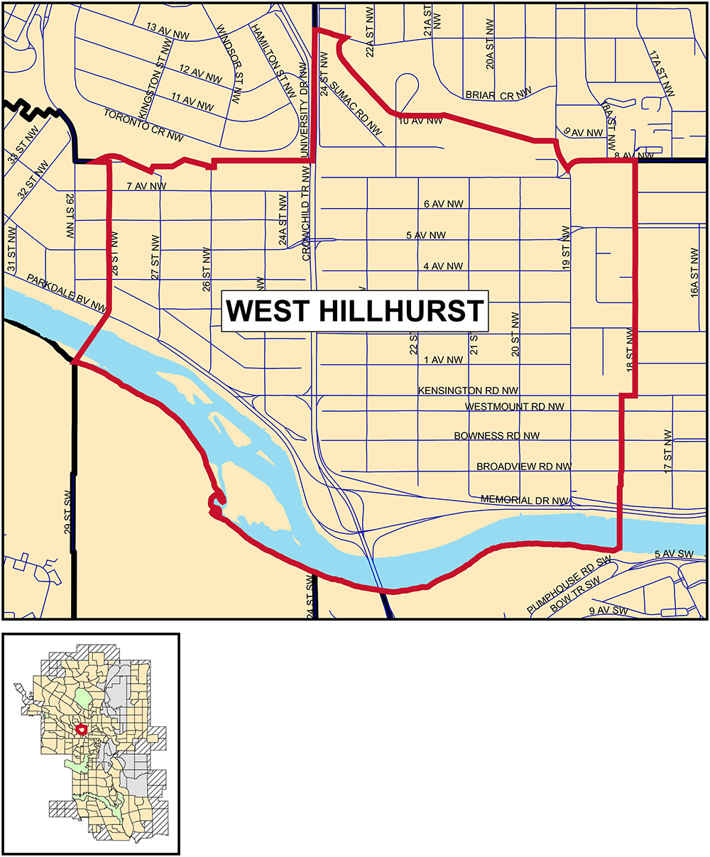 A map showing the community boundaries for West Hillhurst: •south of the bluff (roughly 9 Avenue northwest), north of the river, west of 18 Street northwest, and east of 28 Street northwest.