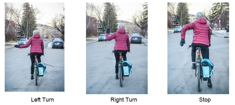 Cyclist from the back in three images showing the formerly only permitted hand signals with previous bylaw. Left arm extended left still signals left turn, left arm with bent elbow and hand pointing up signals a right turn and left hand with elbow bend an