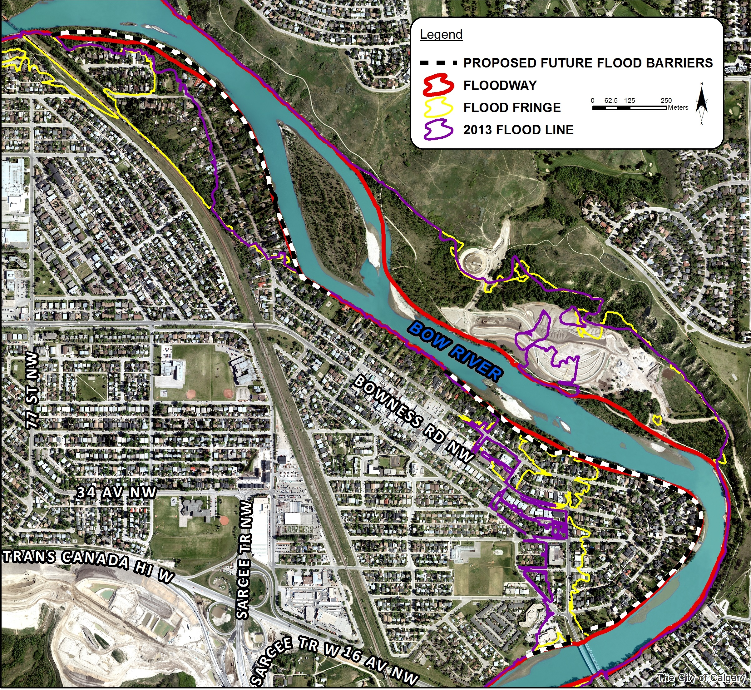 Map of Bowness showing the 2013 flood line, the floodway flood fringe area, and the location of proposed future flood barriers.
