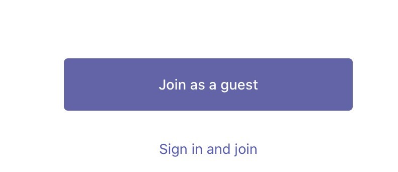Image showing the button used to join the Microsoft Teams event as a guest.