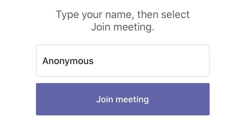 Image of Microsoft Teams prompt to enter a username before joining the live session.