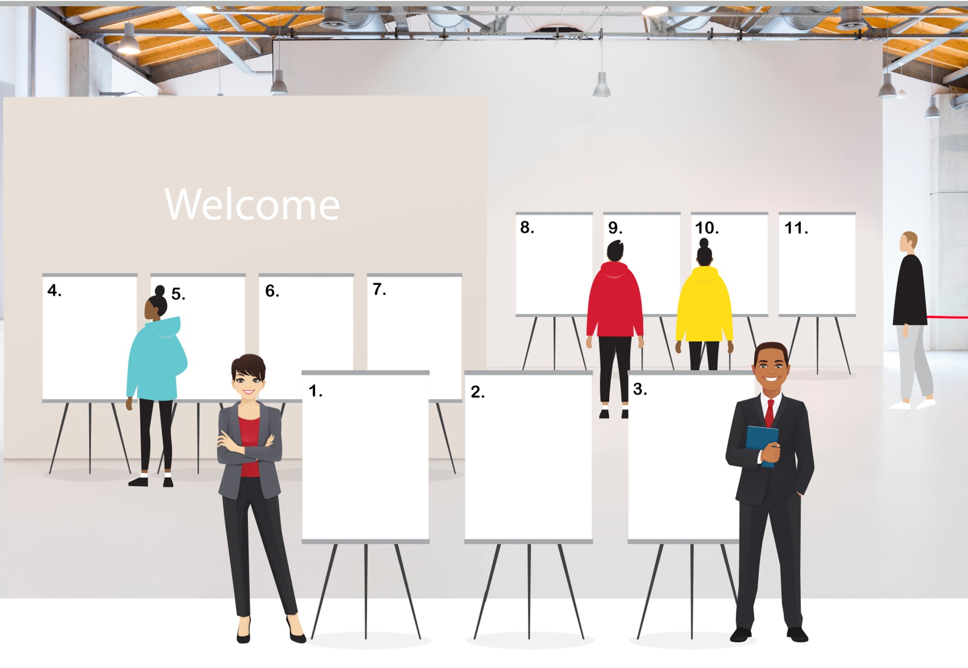 Image shows a graphic of a virtual open house i.e. a room with informational boards laid out. Each room can be clicked on for more information.