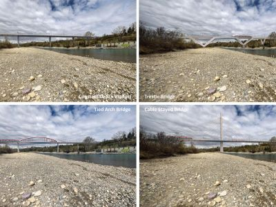 Renderings of the possible bridge types from along the Bow River in Prince's Island Park