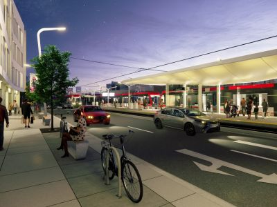 Rendering of the 16 Avenue N. Station, looking south from the southeast corner of Centre Street and 16 Avenue N.