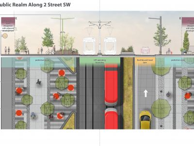 Cross-section of the 2 Avenue S.W. public realm