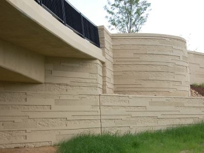 patterned concrete screening wall