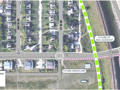 This image shows a close-up aerial view of the area around 78 Avenue S.E.