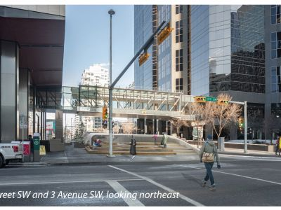 Rendering of the south side of the portal, looking northeast from the intersection of 2 Street and 3 Avenue S.W.