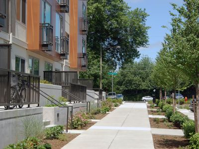 Upgraded sidewalks with street trees and landscaping