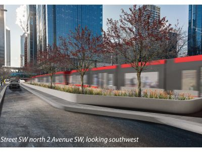 Rendering of 2 Street S.W. looking southwest from the intersection of 2 Street and 2 Avenue S.W.