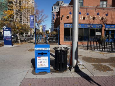 Standard city garbage and recycle bins