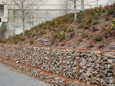Rock, soil, and landscaping wall