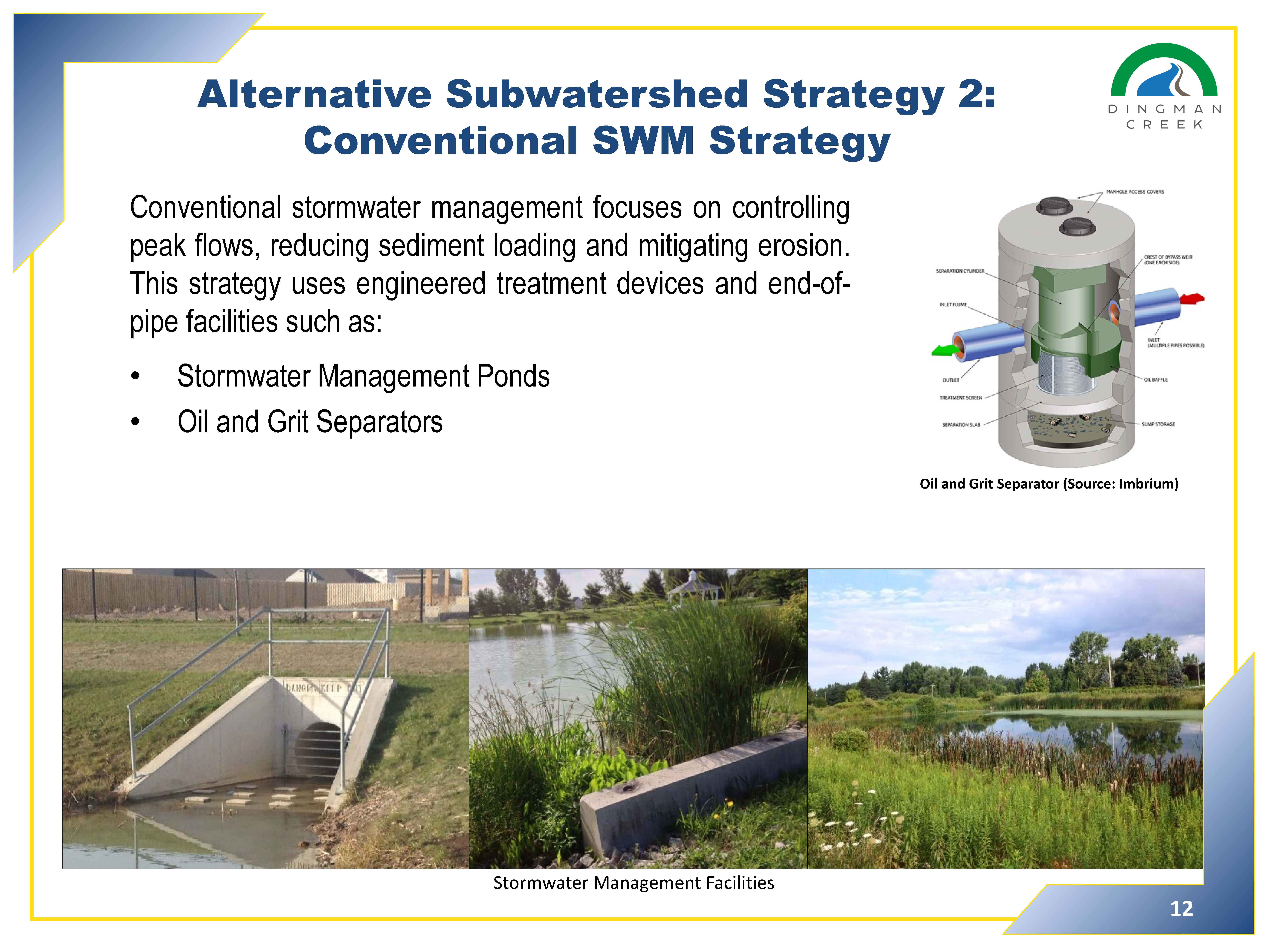 Alternative subwatershed strategies 2 - Conventional SWM Strategy