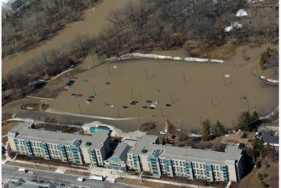 Flooding at Western University along the river.