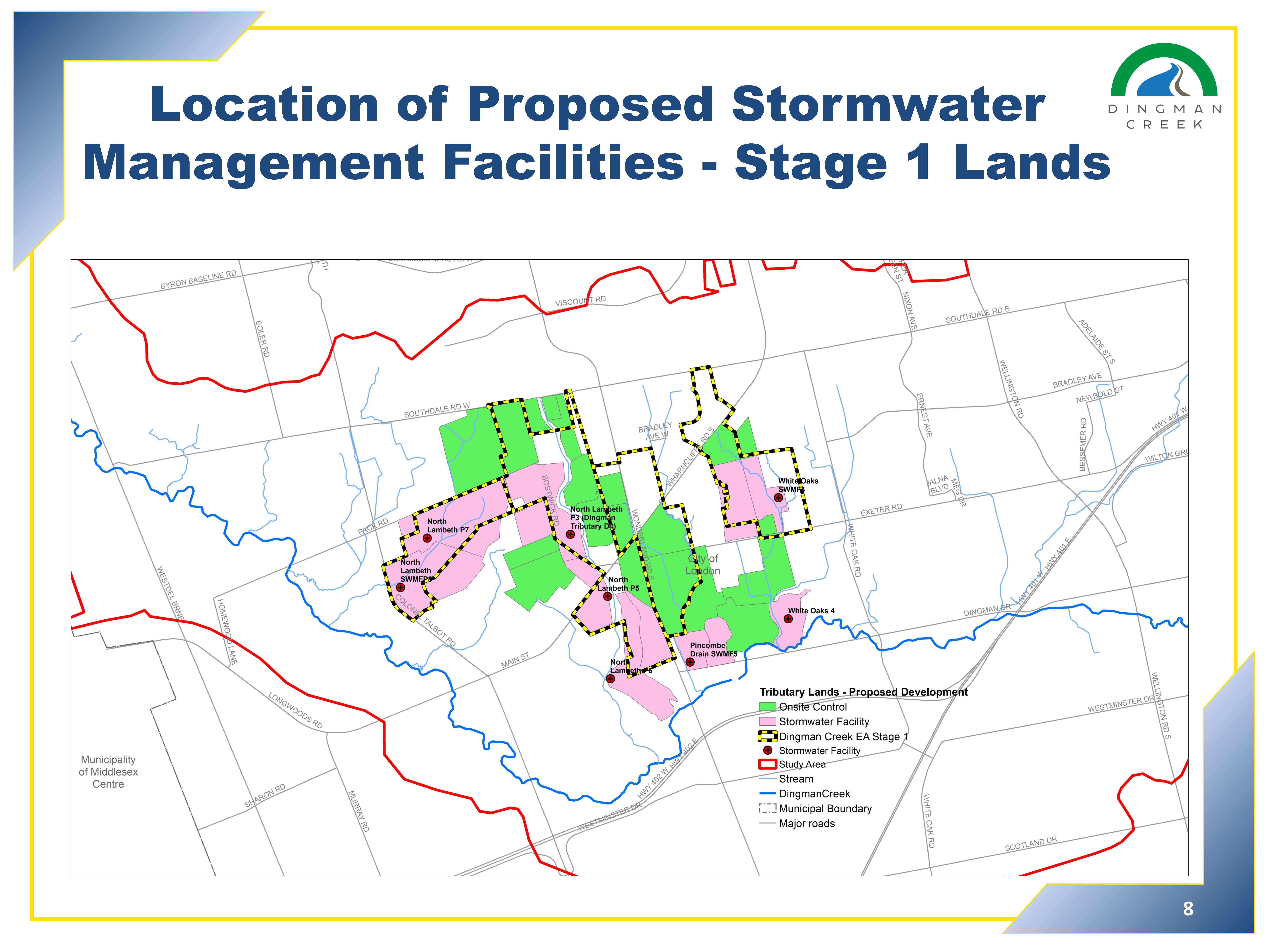 Location of Proposed Stormwater Management Facilities - Stage One Lands