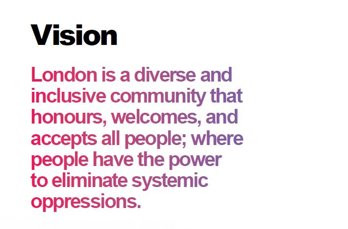London is a diverse and inclusive community that honours, welcomes, and accepts all people;where people have the power to eliminate systemic oppressions.