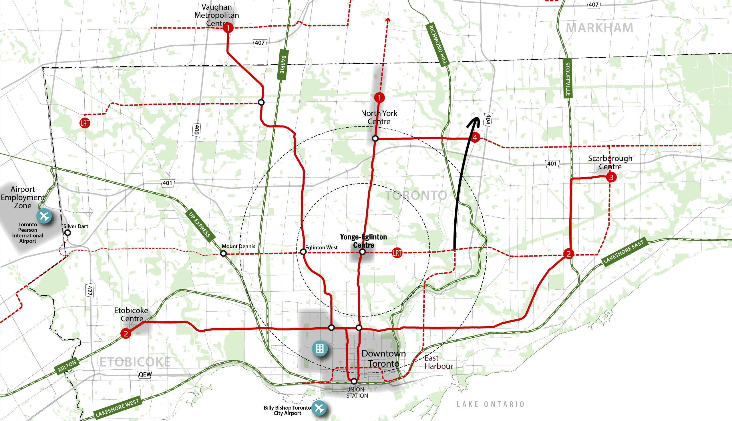 Map of Toronto showing location of Yonge and Eglinton