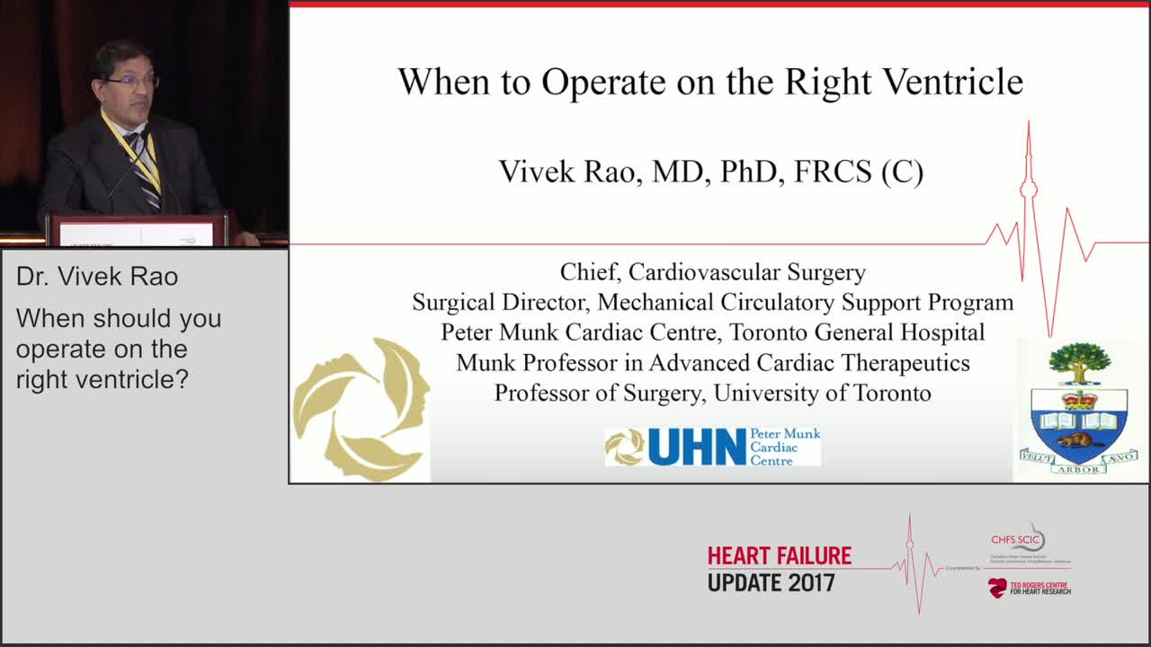 When should you operate on the right ventricle?