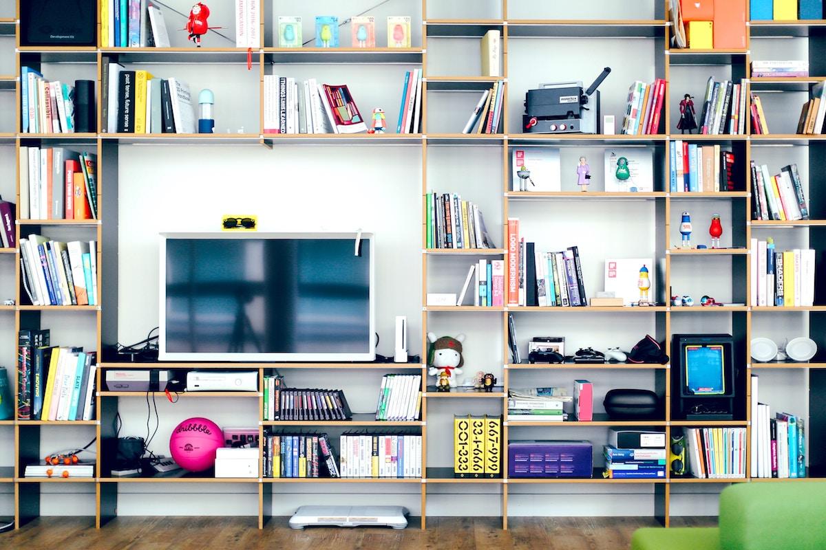 television on a bookshelf