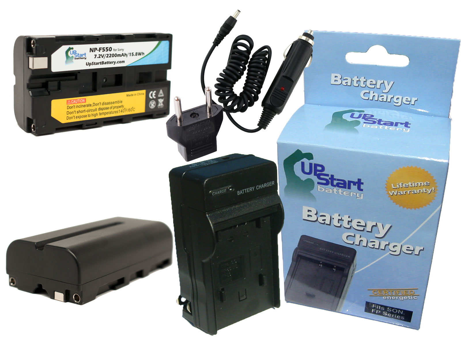 Replacement for Sony CCD-TRV65 Battery and Charger 2200mAh 7.2V Lithium-Ion Compatible with Sony NP-F550 Digital Camera Batteries and Chargers