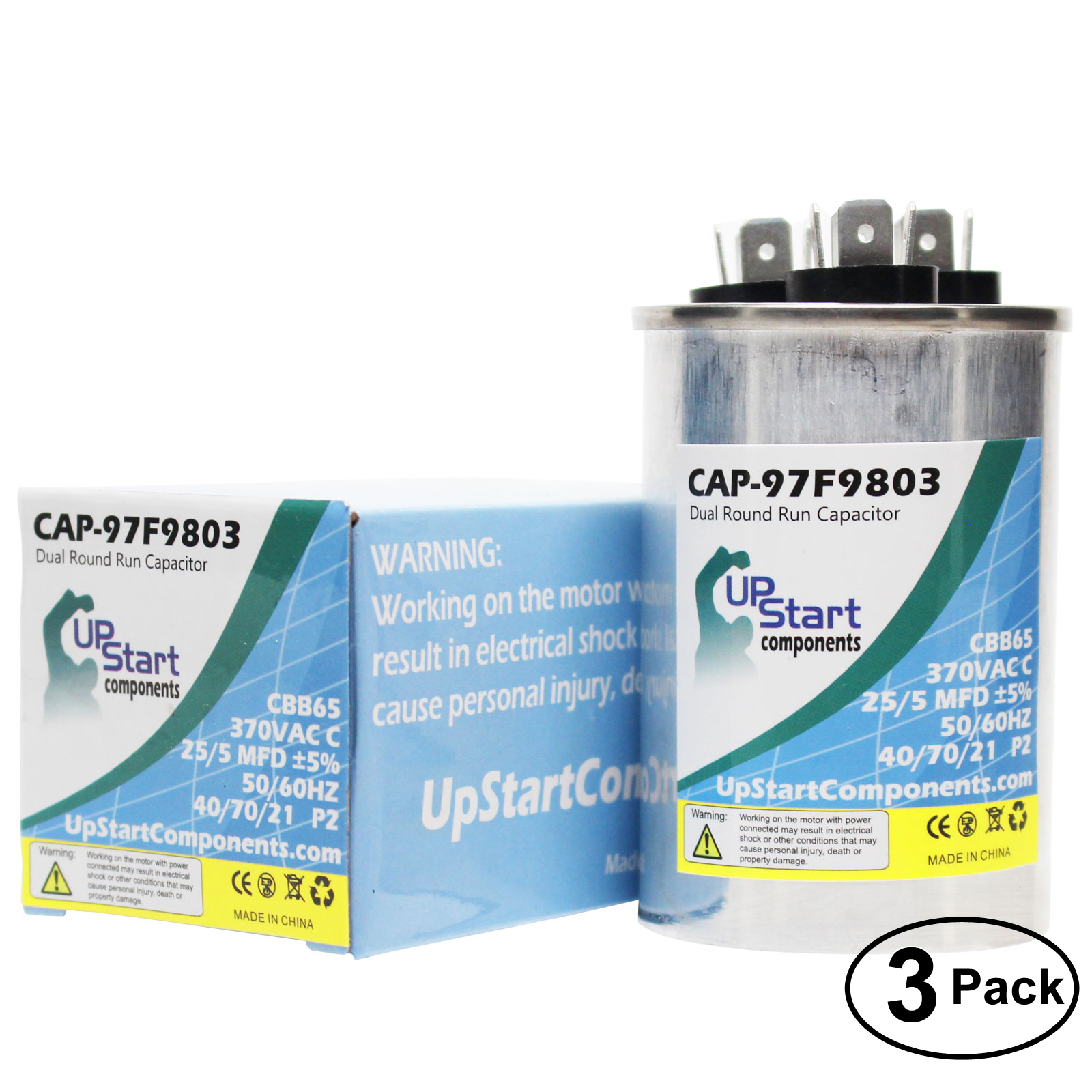 5x 25//5 MFD 370 Volt Dual Round Run Capacitor for Carrier 38AY0183000021