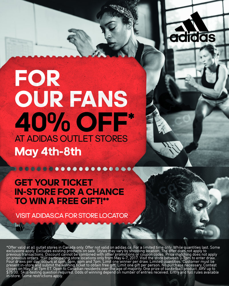 Adidas: For our fans! 40% off!   allsales.ca