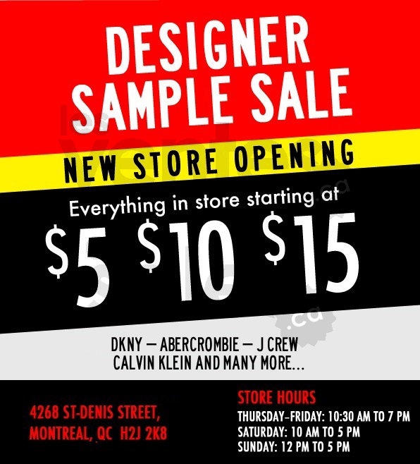 Designer Sample Sale from $5-$10-$15 | allsales ca