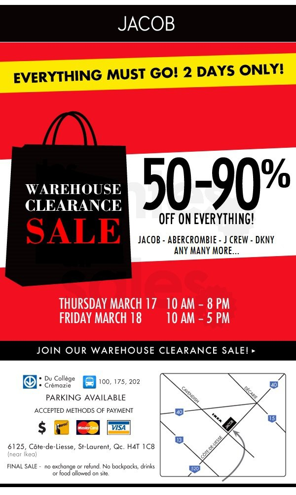 JACOB Warehouse clearance $1, $5, $10    | allsales ca