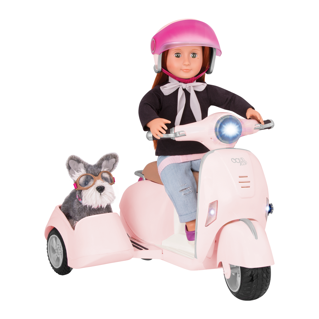 Sabina and Pup riding in Ride Along Scooter with Sidecar