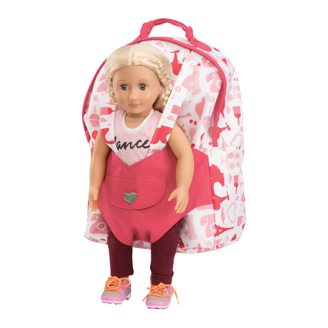 Backpack with Hope in doll harness