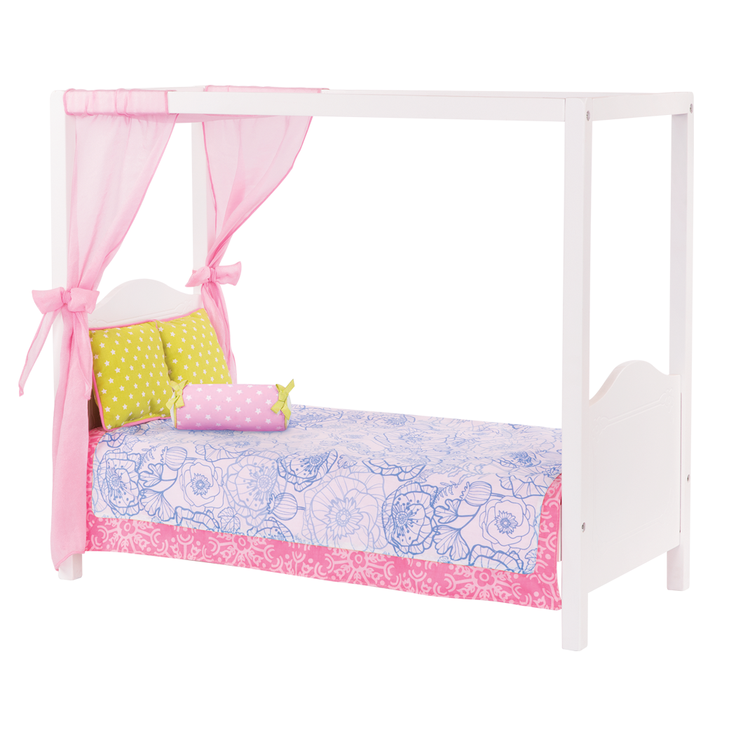 My Sweet Canopy Bed - Blue Floral bed for 18-inch Dolls