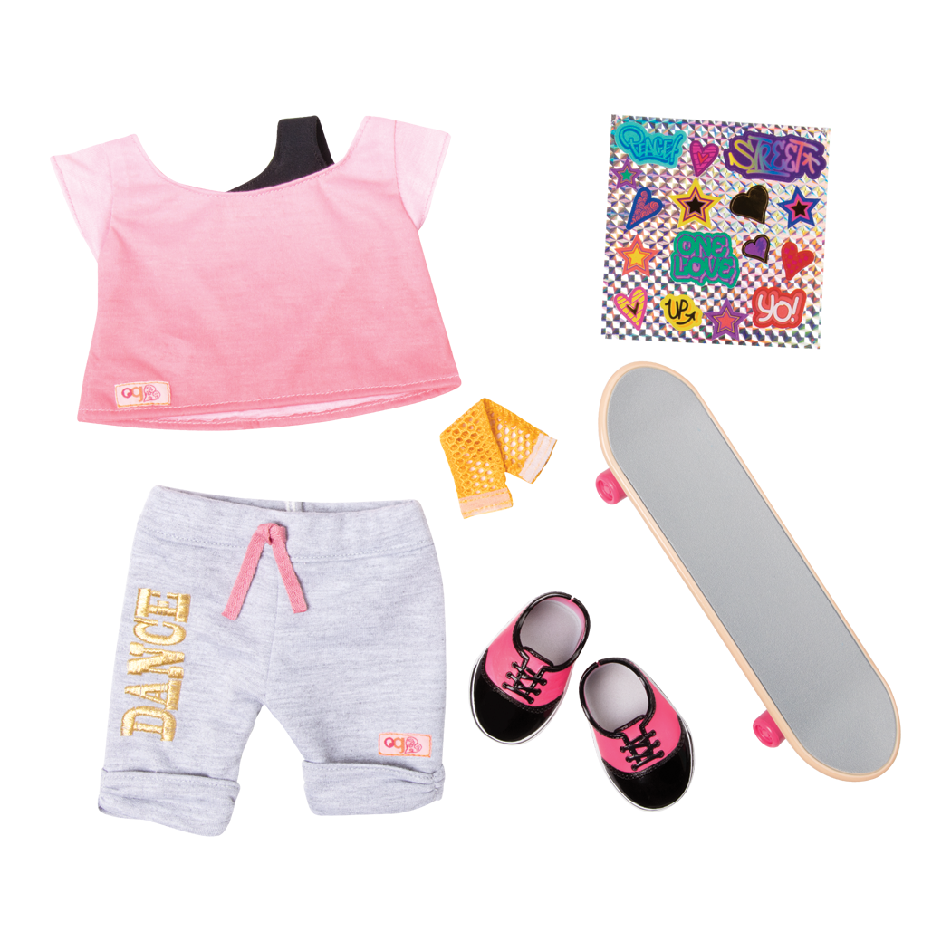 OG Fly Urban Skateboard Outfit for 18-inch Dolls