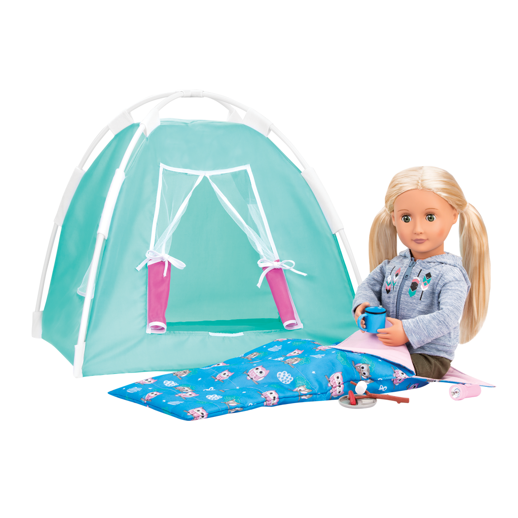 Ginger in tent