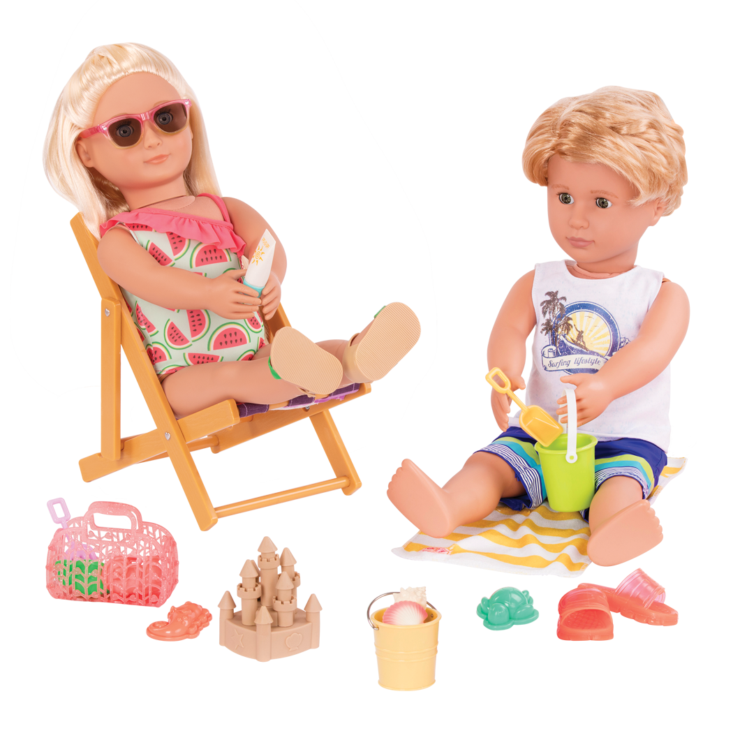 Seabreeze and Gabe 18inch dolls playing on beach