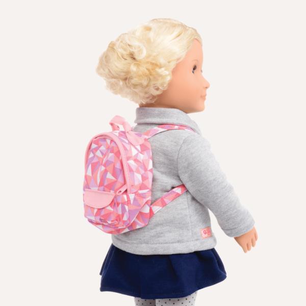 Steffie wearing backpack