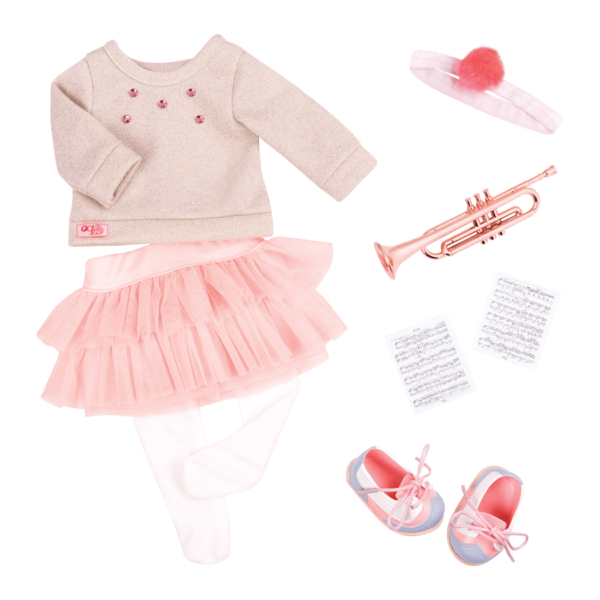 Fashion Notes Music outfit with trumpet for 18-inch Dolls