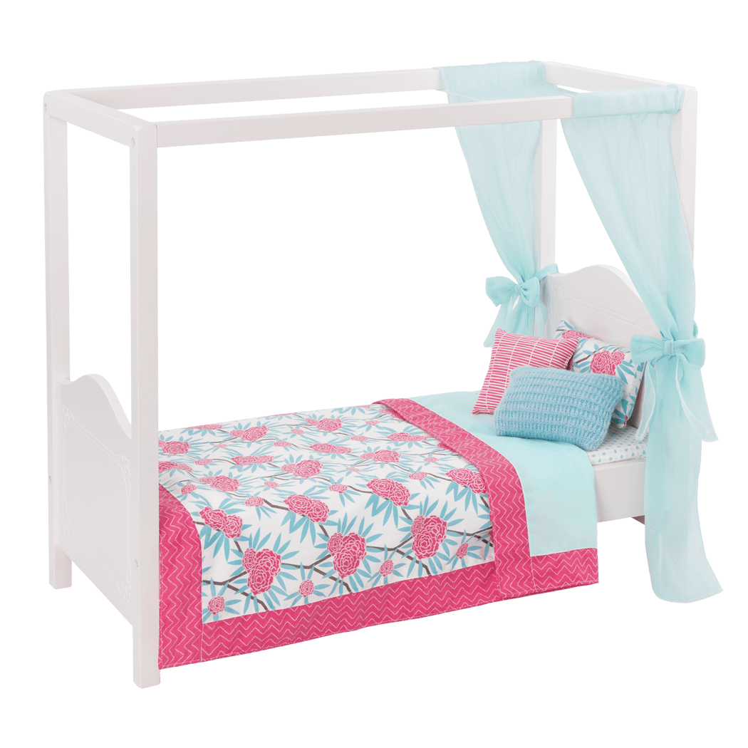 My Sweet Canopy Bed - Blue and Pink bed for 18-inch Dolls